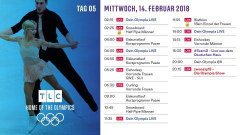 Olympia Programm: Mittwoch 14. Februar