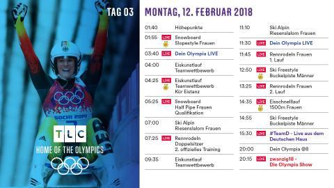 Olympia Programm: Montag 12. Februar