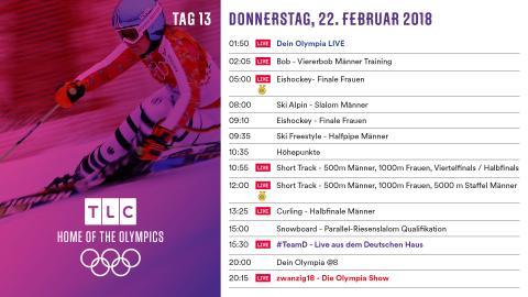 Olympia Programm: Donnerstag 22. Februar