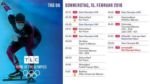 Olympia Programm: Donnerstag 15. Februar