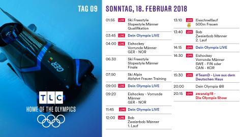 Olympia Programm: Sonntag 18. Februar