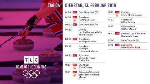 Olympia Programm: Dienstag 13. Februar