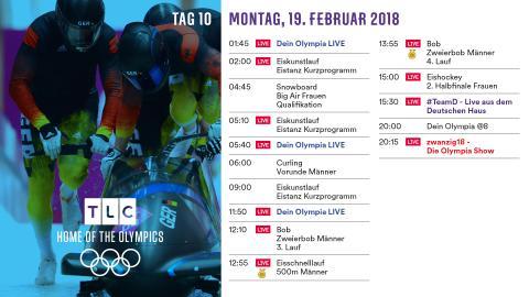 Olympia Programm: Montag 19. Februar