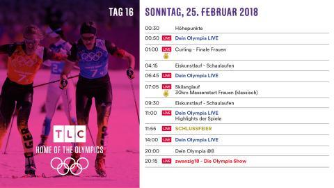 Olympia Programm: Sonntag 25. Februar