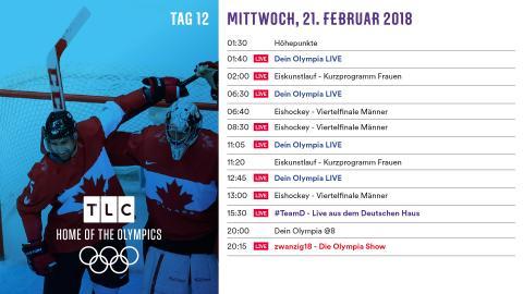 Olympia Programm: Mittwoch 21. Februar